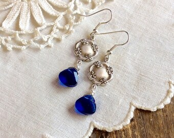 VICTORIAN CLOUD earrings cobalt blue earrings sterling silver earrings blue drop earrings