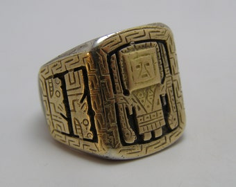 SALE - Vintage Inca Peru Mexico Sterling Silver and 18K Gold Biker Ring Inca God Ring