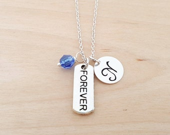 Forever Charm Necklace - Swarovski Birthstone Necklace - Personalized Gift - Initial Necklace - Sterling Silver Jewelry - Gift for Her