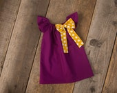 Fall Plum Mustard Polka Dot Bow Peasant Dress - Baby Girl