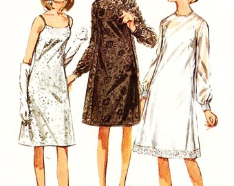 Simplicity 6784 Misses' Vintage 1960s Evening Slip Dress and Overdress Sewing Pattern Sz 16