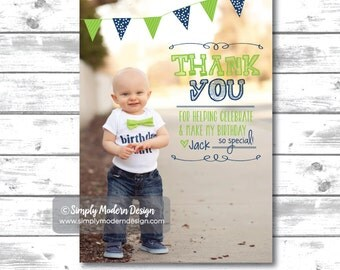 kids birthday thank you card, guest thank you, thank you card, birthday banner, PRINTABLE or PRINTED CARDS
