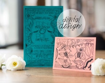 48 HOUR TURNAROUND; download; Wedding Invitation; Day of the Dead; Unique; Custom; Hand Lettered; Mexico; Destination; Latino; Bright