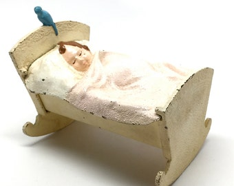 Vintage Baby In Cradle Cast Iron Coin Bank, Blue Bird, Bank, Cast Iron, Made in USA, c1930