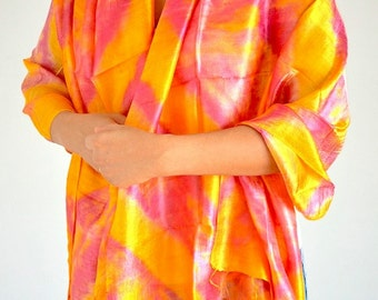 Women Yellow Pink Tie Dye Scarf Silk Scarf Top Quality Handmade Multi Colored Scarf Wide Scarf Bohemian Scarf Mother Gift Scarf Shawl 30x71