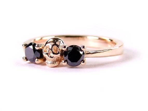Skull Wedding Ring, Rose Gold Skull Ring, Black Diamond Ring, Rose Gold Engagement Ring, Goth Wedding Band, Rockn Roll Wedding, All Sizes