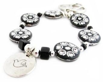 Keychain Bracelet, Hope Keychain, Bracelet Keychain, Beaded Keychain, Wristlet Keychain, Dove Keychain, Gift Under 20, Car Accessories