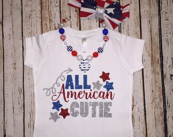 All American Cutie girls fourth of july shirt