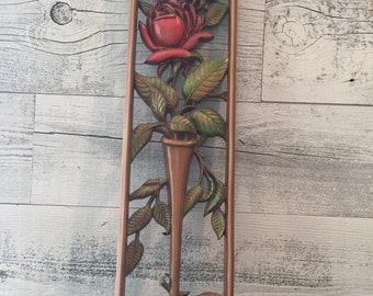 Vintage Plastic Resin Rose Bud Picture - Plastic Wall Art-  Shabby Red Rose Bud Plaque - 1960s 70s Plastic Wall Art - Rose Picture