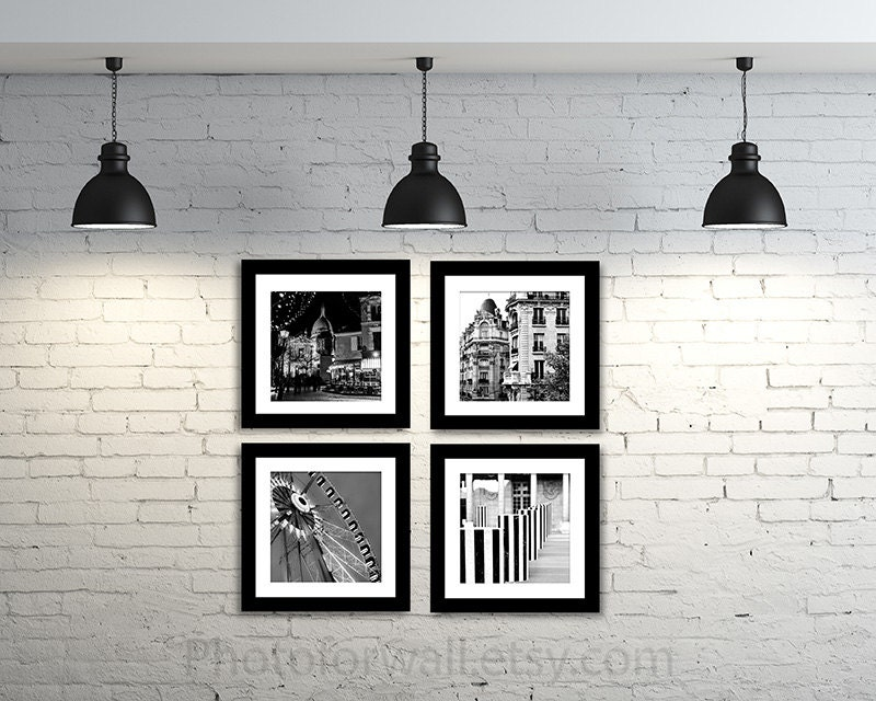 Paris photography black and white photography wall for Black and white paris wall mural