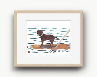 Chocolate Lab, Brown Lab Gift Art, Labrador Art Print, Labrador Decor, Chocolate Lab Gifts