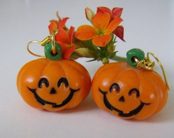 halloween jack o lantern plastic pumpkin charm earrings halloween earrings plastic pumpkin earrings - Plastic Pumpkins