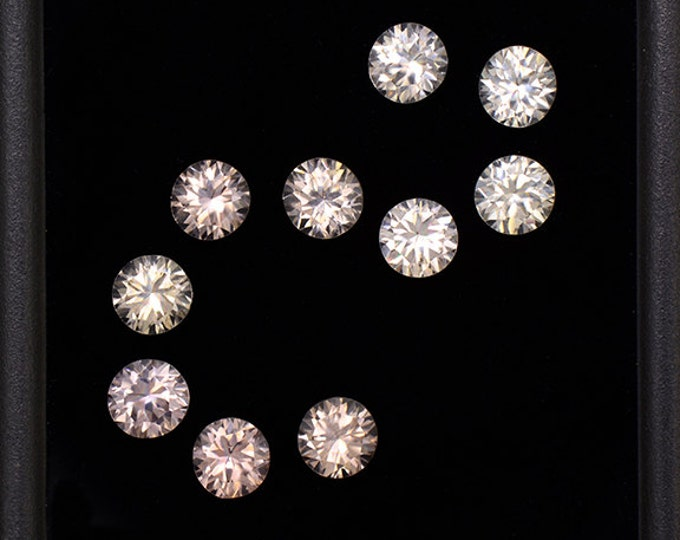 UPRISING SALE! Superb Silvery Champagne Zircon Gemstone Set from Australia 4.55 tcw.