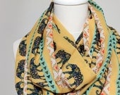 Elephant Scarf Yellow Navajo Scarf Tribal Pattern Scarf Infinity Scarf Ikat Aztec Accessories Gift For Her Wife Doughter Christmas Autumn