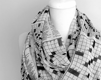 Crossword Puzzle Scarf Infinity Scarf Print Scarf Circle Geek Scarf Spring Summer Fall Winter Fashion Session Gift Idea For Her Black Friday