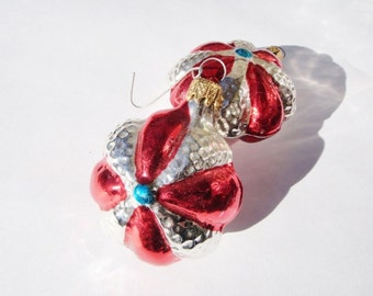 Red and  Silver Flower Christmas Ornament German Glass Vintage Double Sided