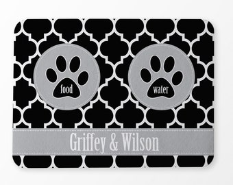 Pet Feeding Mat - Moroccan Pattern - Black and Grey