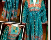 Vintage Blue Red Orange Gold Print Maxi Dress Caftan Asian Ethnic Boho Festival Hippie FREE SHIPPING