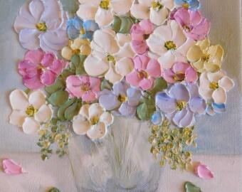 """Custom Oil Painting impasto canvas painting """"Vintage Soft"""" Palette Knife Painting, Nursery, Wedding,"""