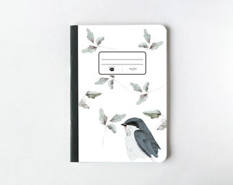 Blue Bird Illustration Notebook - Journal - Sketchbook - Blank pages - Lined pages