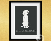 I love my dog, German Shorthaired Pointer, personalized dog name,  home decoration poster, digital artwork print, modern decor dog lover