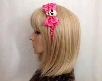 Skull and pink roses headband hair bow rockabilly psychobilly sugar gothic Lolita cute pin up girl skeleton rose accessories punk ladies