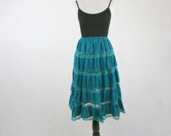 1980s Lace Cotton Tiered Skirt Elastic Waist