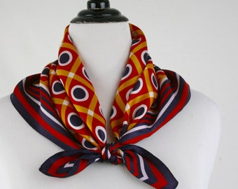 1960s Mod Dot Square Acetate Scarf Made in Italy