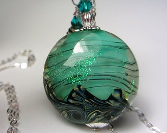 Artisan Handmade Lampwork Necklace Seafoam Shimmer Lentil Pendant SRA Ocean Necklace Sea Spray Swarovski Crystals Teal Blue Sea Gift for Her