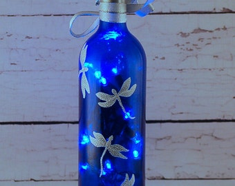 Blue and white dragonfly wine bottle lamp, hand painted