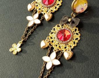 Medieval chandelier earrings medieval jewelry statement earrings long chain earrings filigree earrings red gold earrings party rebelsoulek