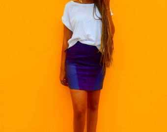 VIntage Violet Blue Leather & Suede Tie Side/Split back HIgh- Waisted Mini Skirt