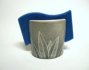 Handmade Ceramic Sponge Holder/ Napkin Holder in Gray with White Willow Leaves, Pottery Ready to Ship