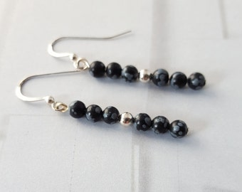 Snowflake Obsidian and Silver Earrings