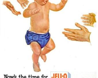 1953 Jello Baby Advertisement Nostalgic Nursery Decor Poster Print - Blue Boy Shower Gift Vintage Cute Babyhood Toddler Mid Century Wall Art