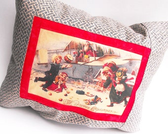 North Pole Air Mail Pillow Santa Claus Workshop Special Delivery Victorian Children Steampunk Flying Machine Airplane Winter Decoration Gift