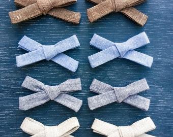 Linen School Girl Bow Set, Hand Tied, Single Bow, Nylon Headband, Alligator Clip, Pig Tail Bows