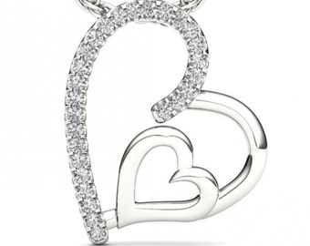 10Kt White Gold Diamond Heart Pendant