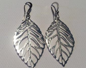 Small SILVER Leaf Earrings, nickel free, hypoallergenic, leaf earrings, Sale earrings, sale jewelry, nature jewelry