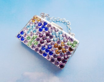 Monet Purse Pin, Multi Colored Rhinestone Pin Brooch, Whimsical, Rhinestone Handbag Pin, Girly Pins, Novelty Pin, Purse Lovers Pin