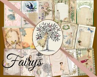 Digital, Printable, Vintage Fairy Album  Journal Kit, 8.5 x 11, Fairy Journal,  Faiery, Digital Journal Kit, Instant download