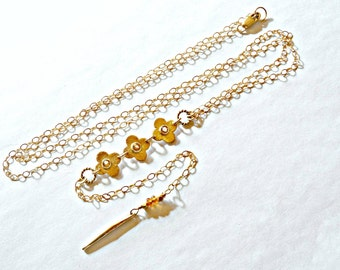 Lariat Necklace with Citrine Gemstones / Gold Vermeil Clover Necklace with Spike Pendant / Y Shaped Necklace / High Fashion Necklace