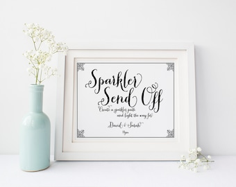 "Custom Sparkler Send Off Sign 5x7"" DIY Wedding Poster Printable"