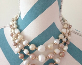 Vintage 1950s Beaded Necklace Multi Strand Pearl Necklace Costume Jewelry Neutral Cream Tan