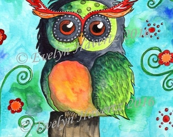 "Whimsical Owl ""Hermann"", mixed media painting on watercolor paper"