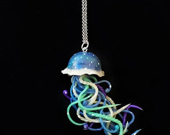Mermaid Galaxy Jellyfish Necklace - jellyfish jewelry, sea, ocean, octopus jewelry, polymer clay jewelry, nautical, mermaid necklace