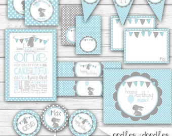 Bunny Birthday, Boy's First Birthday, Blue and Gray, Spring Birthday, Easter Birthday, 1st Birthday - Printable Party Package