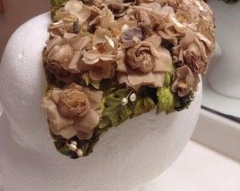 50s Bird Cage Flower Hat  /  Floral Garden Crown Wedding Hat  /  Formal Ladies Fascinator 50s Hat  /  Cheapvintagefashion