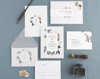 Mae Wedding Invitation & Correspondence Set / Botanical Floral Invitation / Sample Set