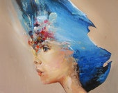 Abstract Portrait Painting, Original Acrylic Female Figure, Contemporary Art, 47In, Large Wall Blue Painting on Canvas